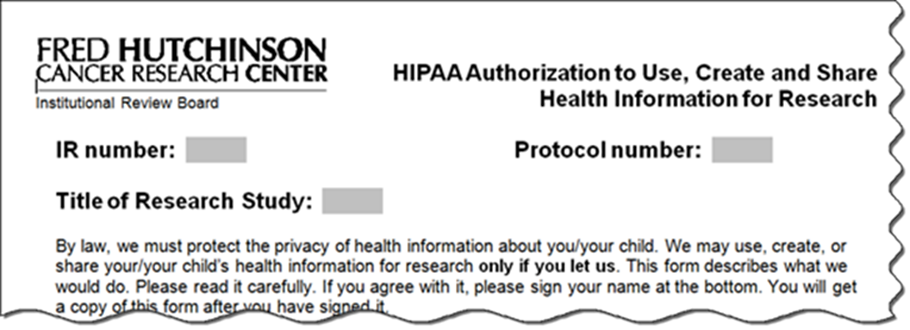 Example of a HIPAA authorization form